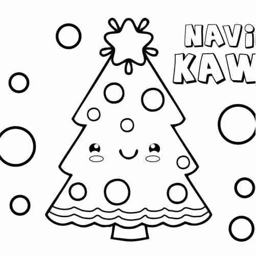 Dibujos de arbolito kawaii de navidad para colorear