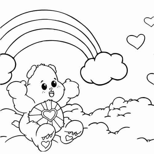 Dibujos de osito carinosito de amor en arcoiris para colorear