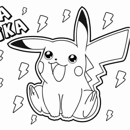 Dibujos de pika pika, pikachu kawaii para colorear