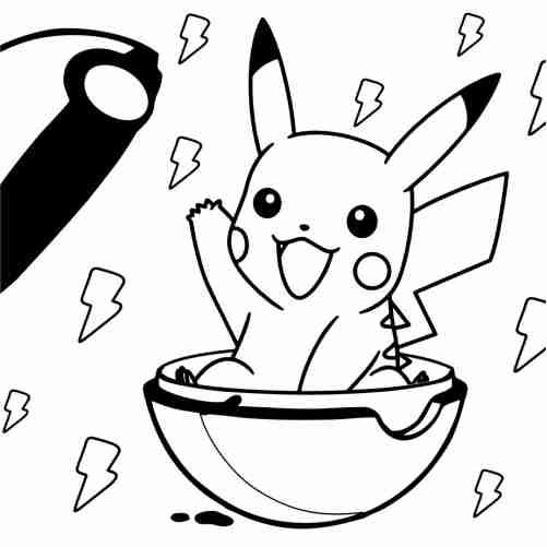 Dibujos de pikachu kawaii en pokebola para colorear