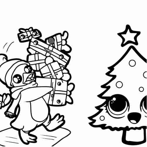 Dibujos de pinguino kawaii con regalos para colorear