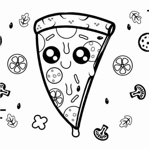 Dibujos de pizza kawaii para colorear