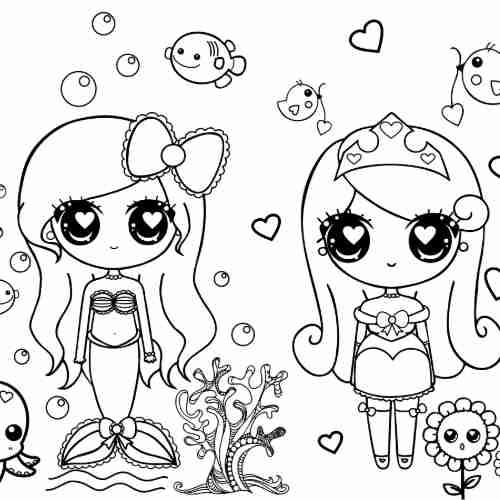 Dibujos de princesas kawaii y sirena para colorear e imprimir