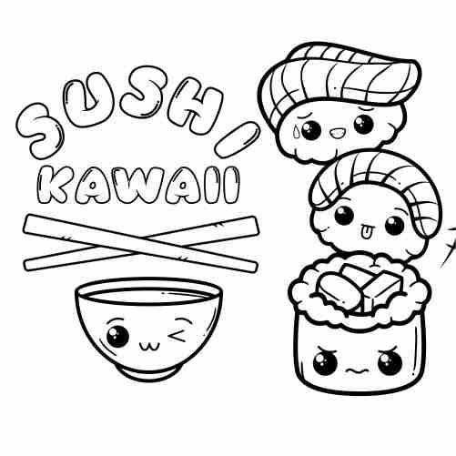 Dibujos de sushi torre kawaii para colorear