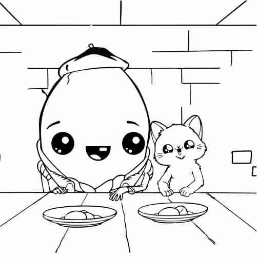 Dibujos de Huevo y gato comiendo para colorear