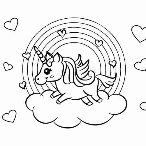 Dibujos de unicornio en arcoiris para colorear