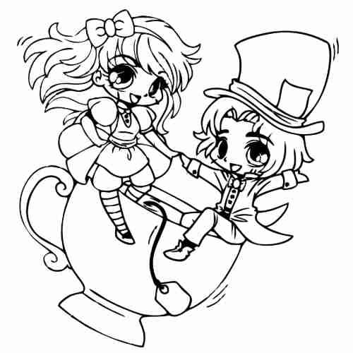 Dibujos de Alicia y el sombrerero loco para colorear