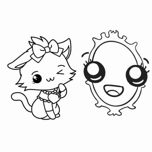 Dibujos de gatita y espejo kawaii para colorear