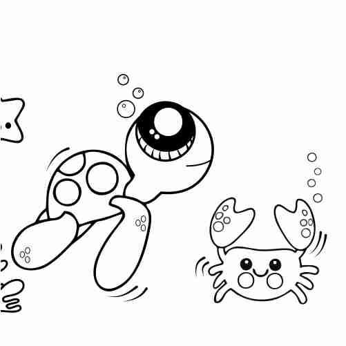 Dibujos de tortuga y cangrejo bajo el mar para colorear