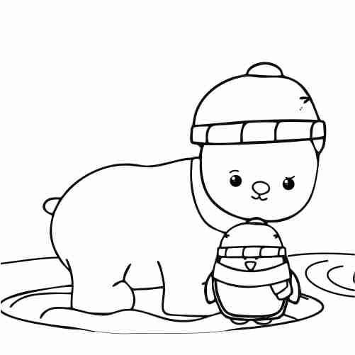 Dibujos de oso y pinguinito kawaii para colorear descargar e imprimir
