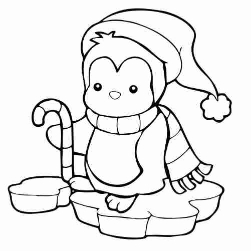 Dibujos de pinguino kawaii en el artico para colorear descargar e imprimir
