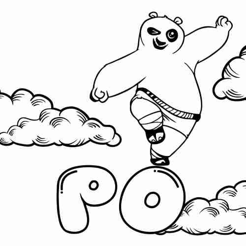 Dibujos de Po Kung fu panda kawaii para colorear