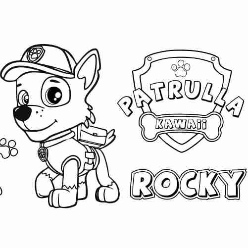 Dibujos de rocky patrulla canina para colorear