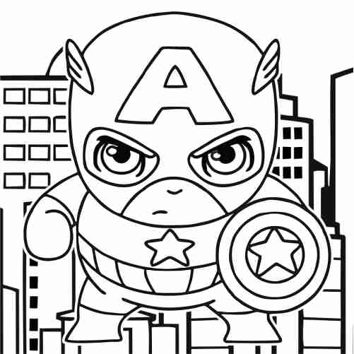 Dibujos de Capitan america kawaii para colorear