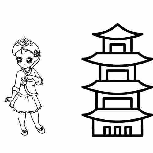 Dibujos de princesa china para colorear