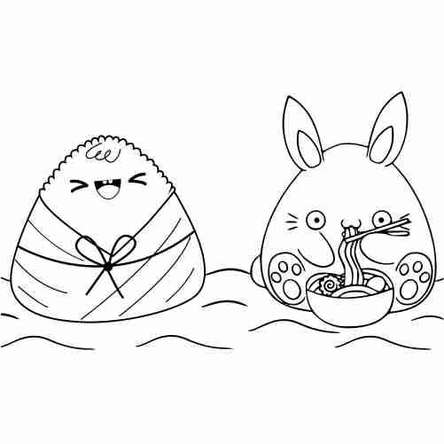 Dibujos de conejo comelon y arroz japones para colorear