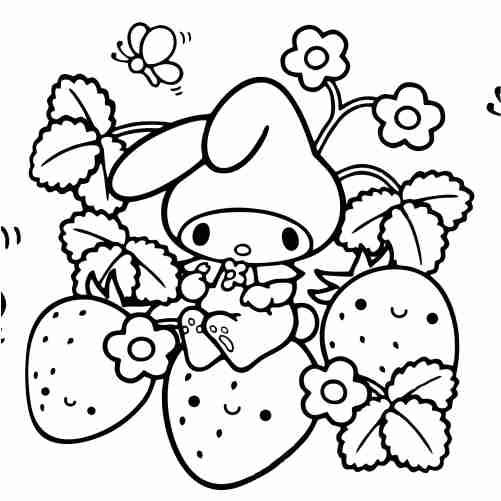 Dibujos de conejo y fresas kawaii para colorear