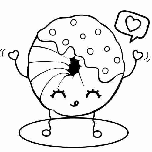 Dibujos de donut kawaii feliz para colorear