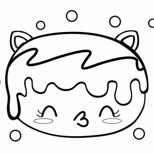 Dibujos de donut gatito kawaii para colorear