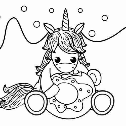 Dibujos de donut y unicornio kawaii para colorear