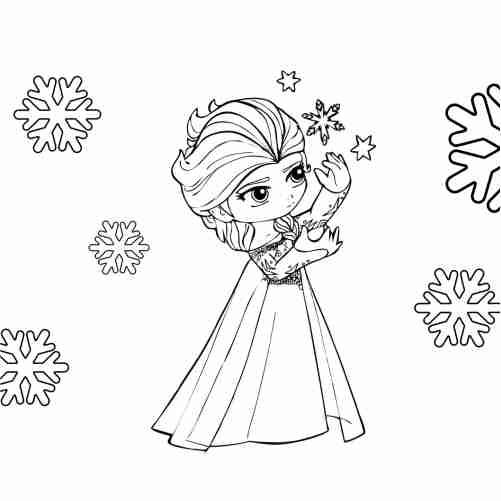 Dibujos de imagen de elsa frozen kawaii para colorear