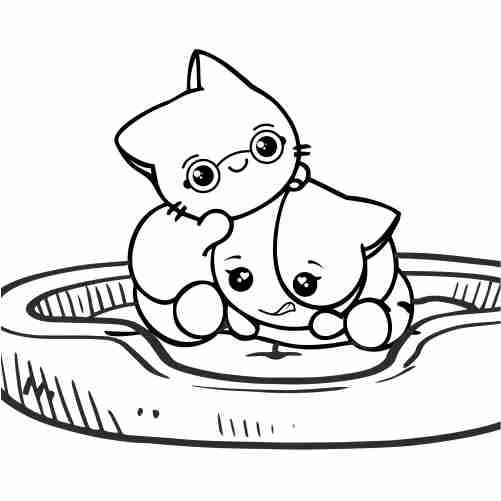 Dibujos de gatitos kawaii jugando