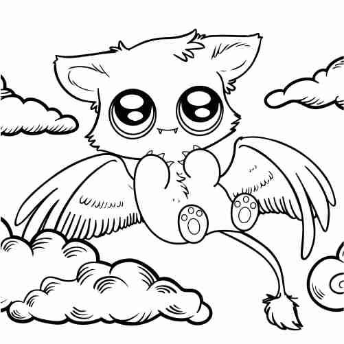 Dibujos de gato vampiro kawaii para colorear
