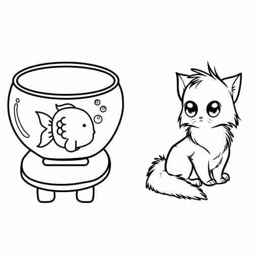 Dibujos de Gato kawaii y pez para colorear