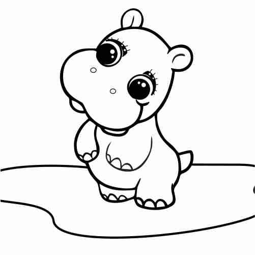 Dibujos de Hipopotamo kawaii para colorear y descargar