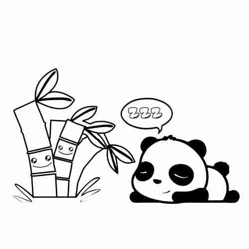 Dibujos de Panda dormilon con plantas kawaii