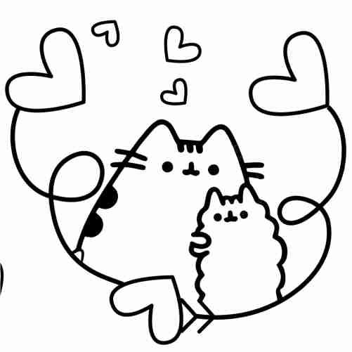 Dibujos de pusheen enamorado para colorear