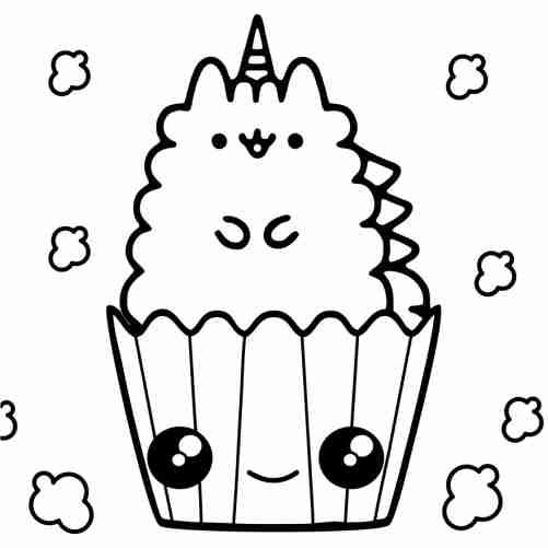 Dibujos de Pusheen unicornio en caja de palomita de maiz para colorear