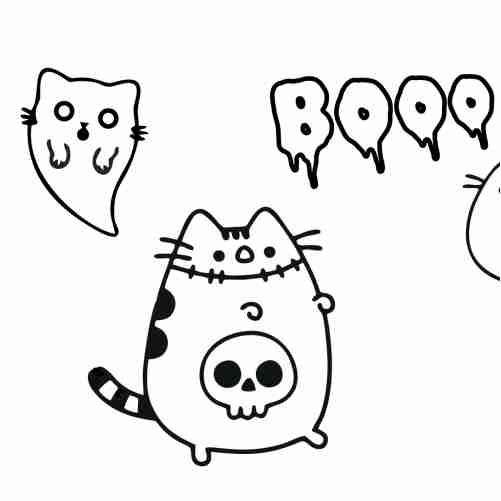 Dibujos de pusheen asustador en halloween para colorear