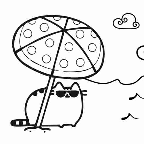Dibujos de Gatito pusheen en la playa para colorear