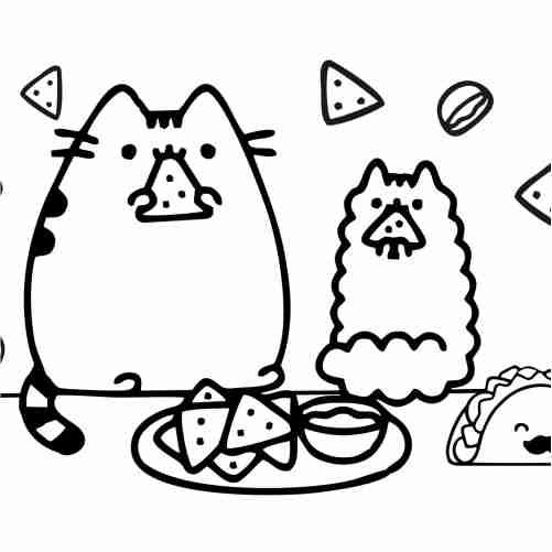 Dibujos de pusheen comiendo tacos kawaii para colorear