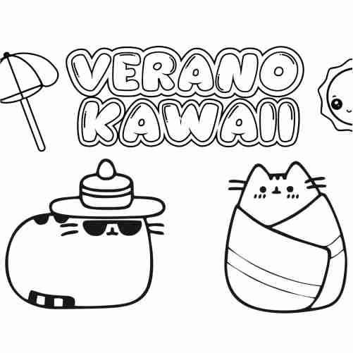 Dibujos de pusheen en verano kawaii para colorear
