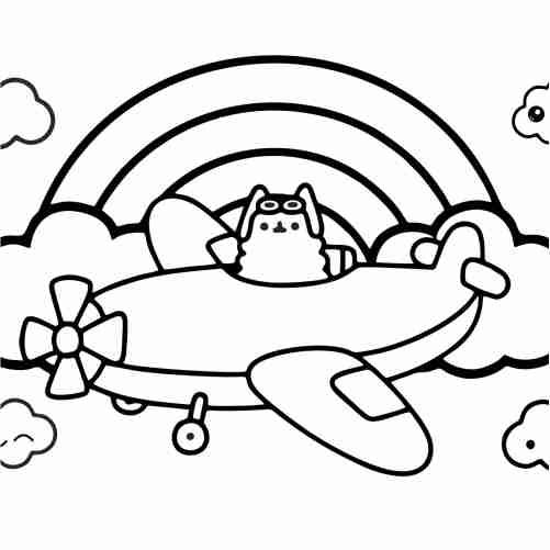 Dibujos de capitan pusheen en avion para colorear