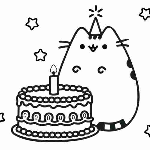 Dibujos de pusheen de cumpleaños para colorear