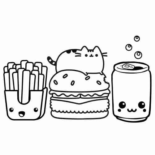 Dibujos de pusheen comelon de hamburguesa para colorear