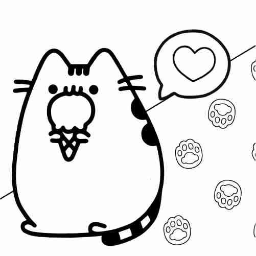 Dibujos de pusheen comiendo helado para colorear