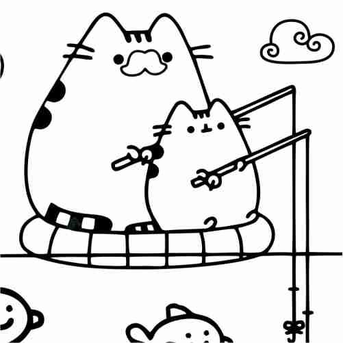 Dibujos de Pusheen pescando con hijo para colorear
