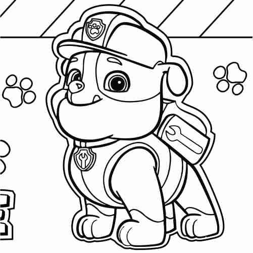 Dibujos de rubble patrulla canina para colorear