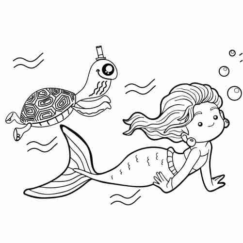 Dibujos de sirena y tortuga kawaii para colorear