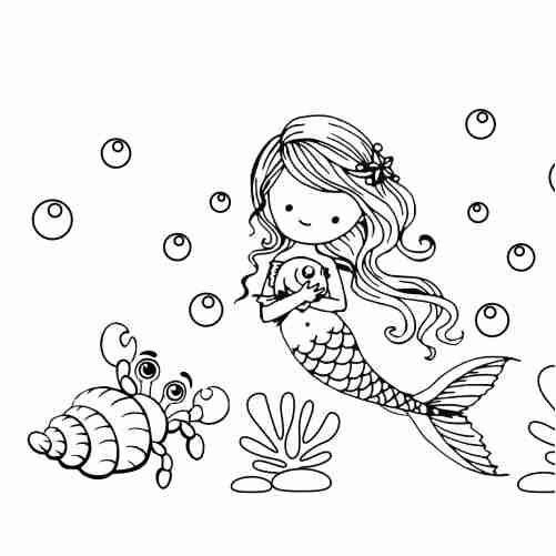Dibujos de sirena y caracol kawaii para colorear