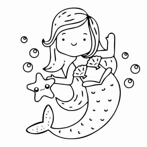 Dibujos de sirena con estrella de mar kawaii para colorear
