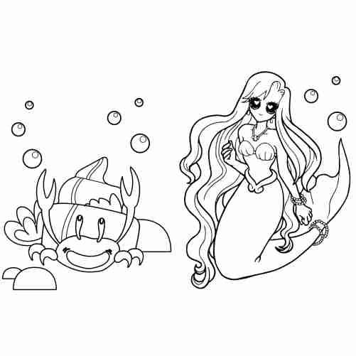 Dibujos de Sirena ariel y cangrejo para colorear