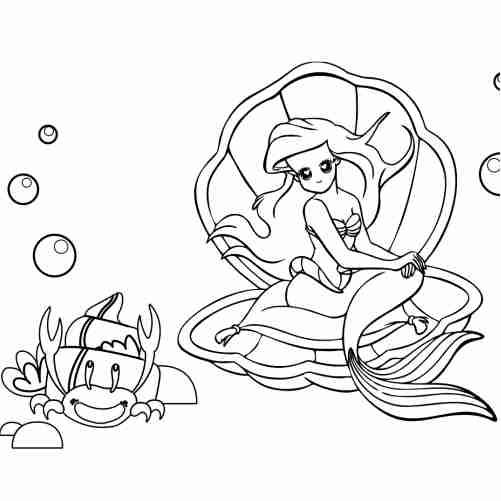 Dibujos de Sirenita en el mar y cangrejo para colorear