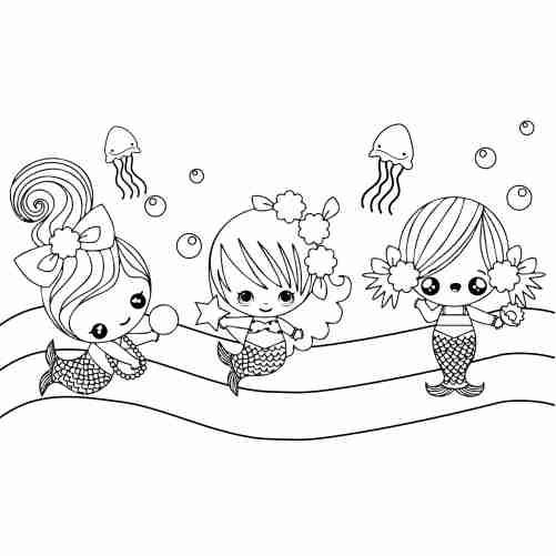 Dibujos de lindas sirenitas bebes para colorear