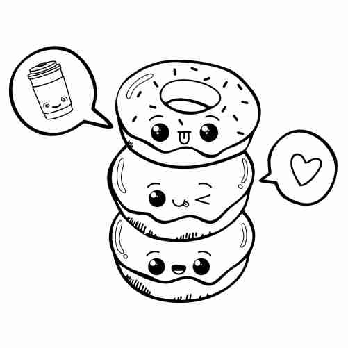 Dibujos de linda torre de donuts kawaii para colorear