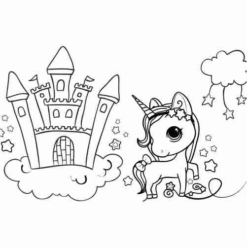 Dibujos de unicornio kawaii en castillo para colorear descargar e imprimir